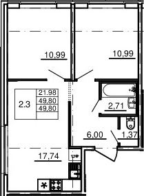 3-комнатная 49 м<sup>2</sup> на 2 этаже