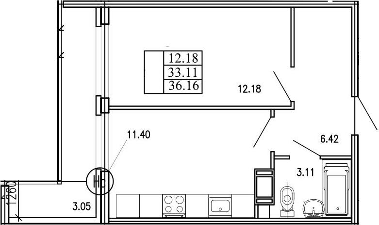 1-комнатная 43 м<sup>2</sup> на 10 этаже