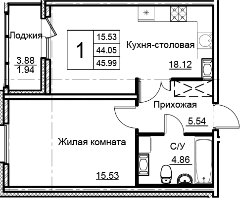 2-комнатная 47 м<sup>2</sup> на 11 этаже