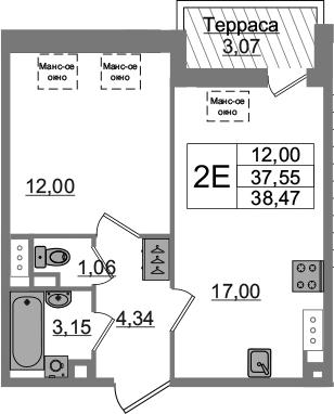 2-комнатная 40 м<sup>2</sup> на 5 этаже