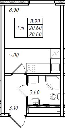 Студия 20 м<sup>2</sup> на 2 этаже