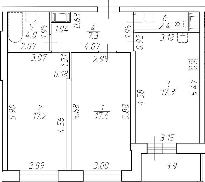 3-комнатная 69 м<sup>2</sup> на 8 этаже
