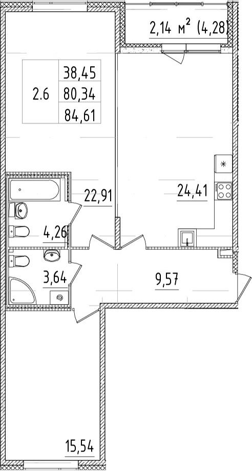3-комнатная 80 м<sup>2</sup> на 2 этаже