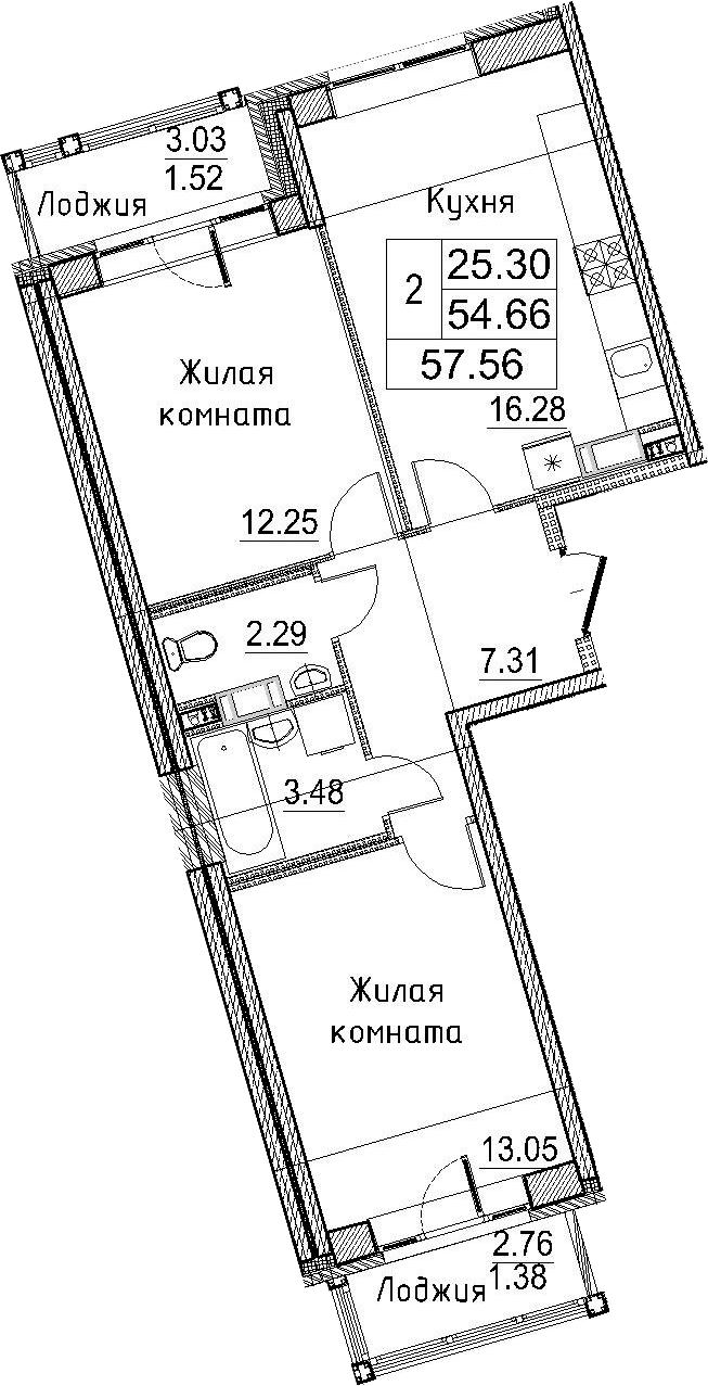 3-к.кв (евро), 60.46 м²