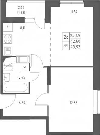2-к.кв (евро), 45.26 м²
