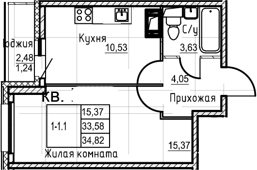 1-комнатная 36 м<sup>2</sup> на 9 этаже