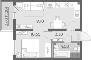 2-комнатная 40 м<sup>2</sup> на 15 этаже