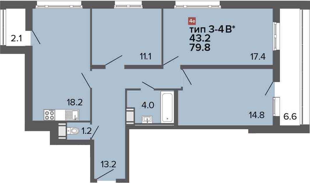 4-комнатная 88 м<sup>2</sup> на 22 этаже