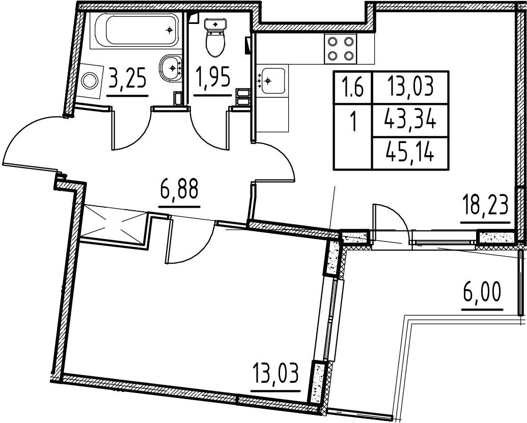 2-комнатная 49 м<sup>2</sup> на 3 этаже