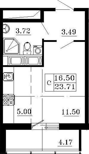 Студия, 27.88 м²