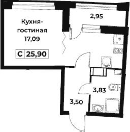 Студия 27 м<sup>2</sup> на 9 этаже