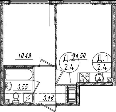 2-комнатная 32 м<sup>2</sup> на 4 этаже
