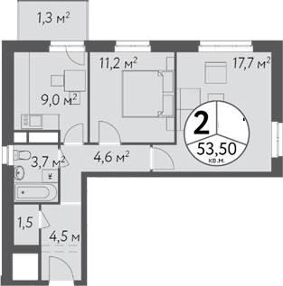 2-к.кв, 56.53 м²