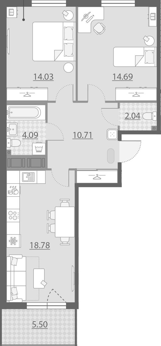 3-комнатная 69 м<sup>2</sup> на 9 этаже