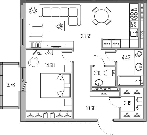 2-комнатная 62 м<sup>2</sup> на 8 этаже