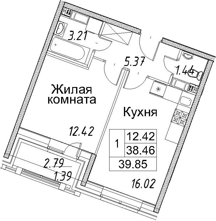 2-к.кв (евро), 41.24 м²