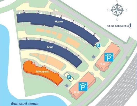 План жилого комплекса ЖК Три ветра