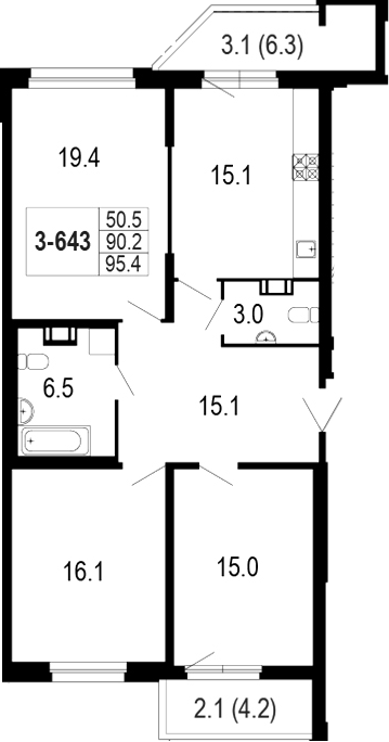 4-комнатная 100 м<sup>2</sup> на 6 этаже