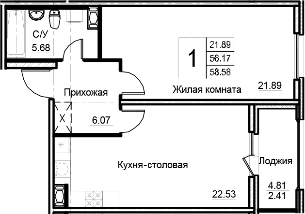 2-комнатная 60 м<sup>2</sup> на 9 этаже