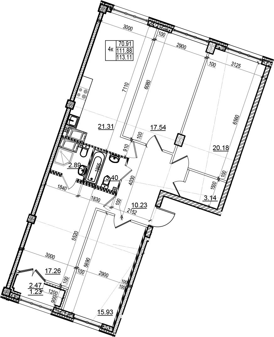 4-комнатная 114 м<sup>2</sup> на 5 этаже