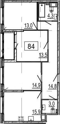 4-комнатная 83 м<sup>2</sup> на 6 этаже