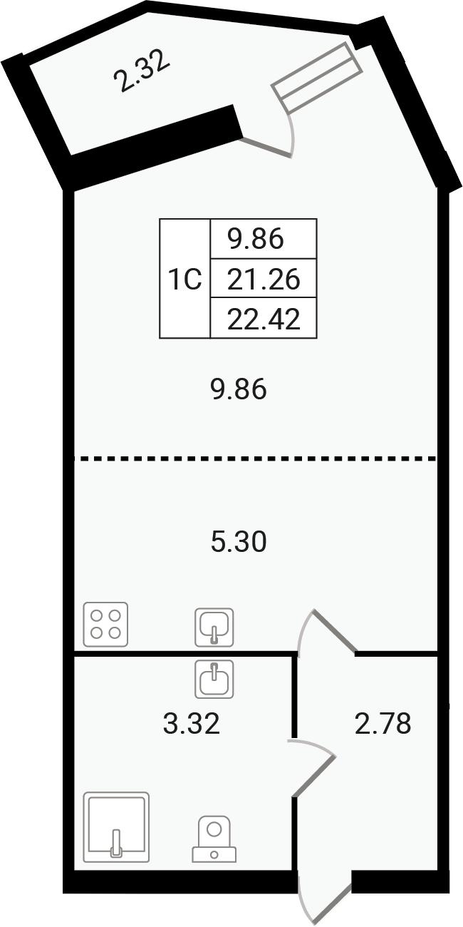Студия, 23.58 м²