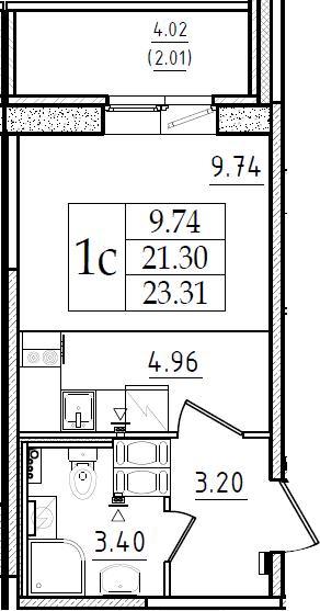 Студия 25 м<sup>2</sup> на 2 этаже