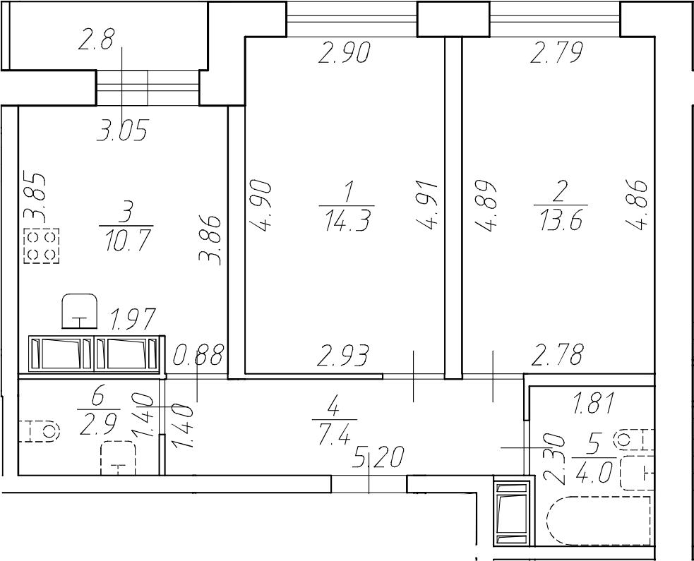 2-комнатная 55 м<sup>2</sup> на 16 этаже
