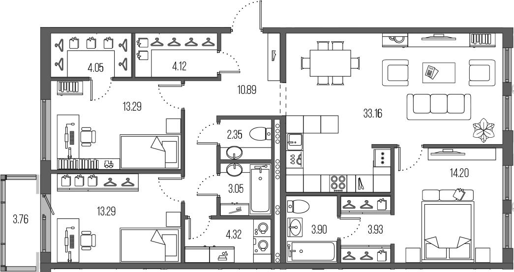 4-комнатная 114 м<sup>2</sup> на 4 этаже