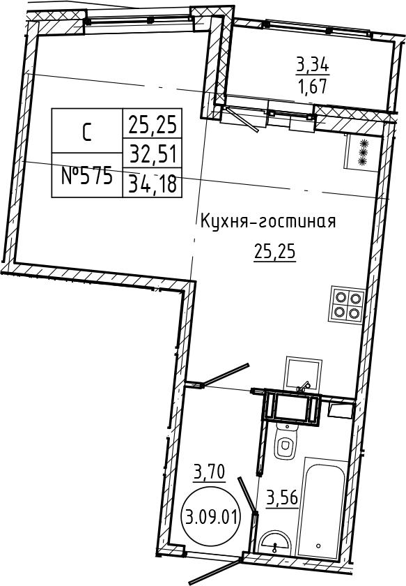 Студия 35 м<sup>2</sup> на 9 этаже