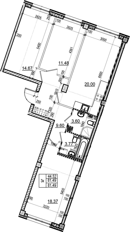 4-комнатная 81 м<sup>2</sup> на 3 этаже