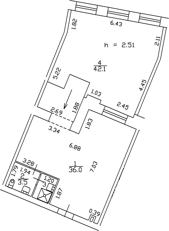 1-комнатная 83 м<sup>2</sup> на 3 этаже