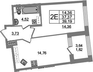 2-комнатная 41 м<sup>2</sup> на 20 этаже
