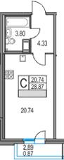 Студия 31 м<sup>2</sup> на 13 этаже