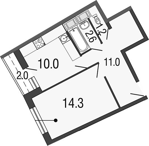 1-комнатная 41 м<sup>2</sup> на 18 этаже