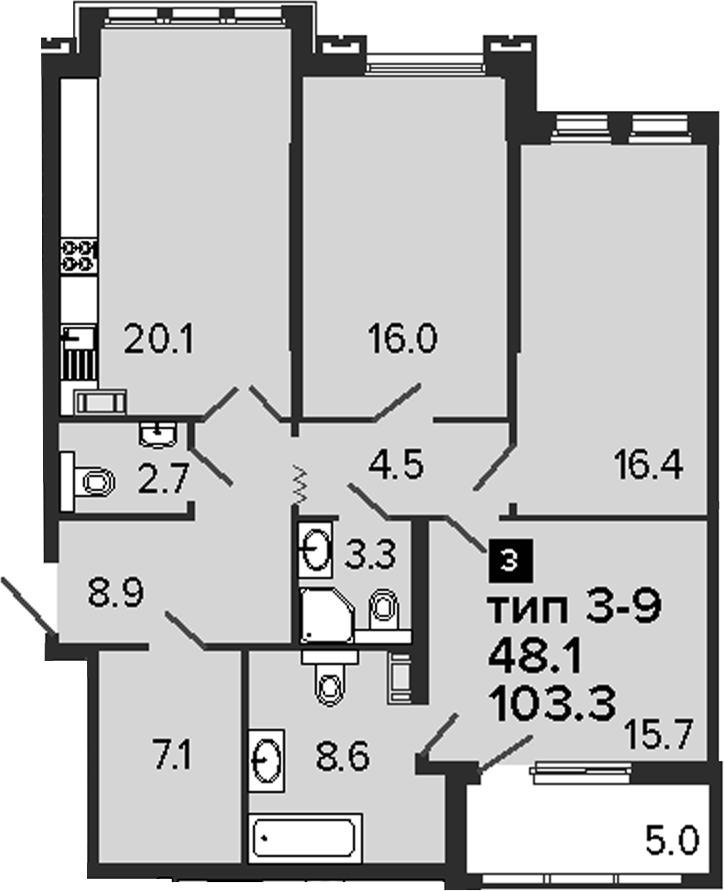 3-комнатная 108 м<sup>2</sup> на 4 этаже