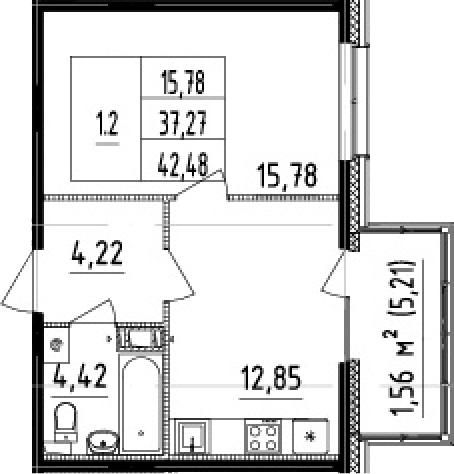 1-комнатная 42 м<sup>2</sup> на 10 этаже