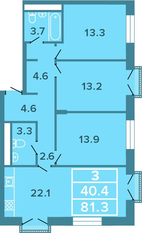 4-к.кв (евро), 81.3 м²