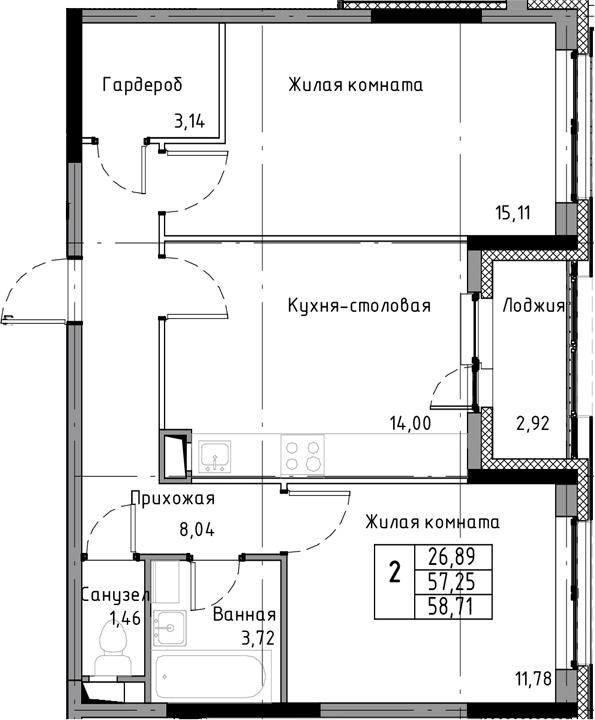 2-к.кв, 60.17 м²
