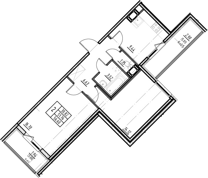 2-комнатная 61 м<sup>2</sup> на 18 этаже