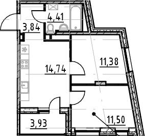 3-комнатная 49 м<sup>2</sup> на 3 этаже
