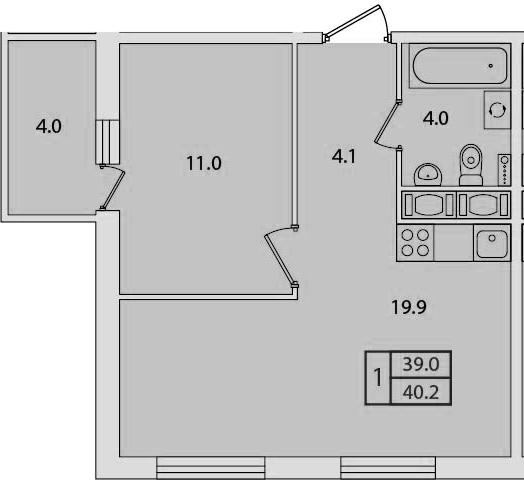 2-комнатная 43 м<sup>2</sup> на 7 этаже