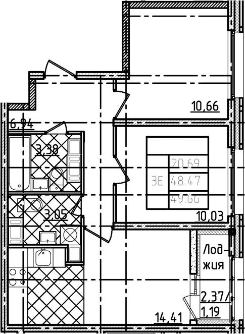 3-комнатная 50 м<sup>2</sup> на 18 этаже
