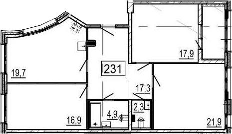 4-комнатная 106 м<sup>2</sup> на 2 этаже