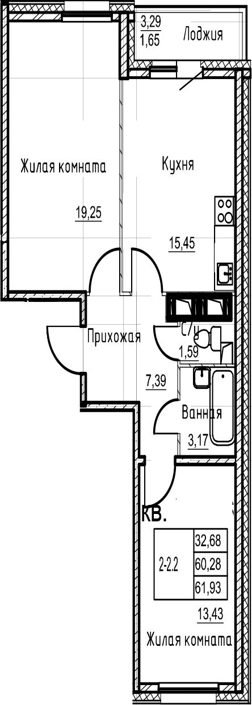 3-комнатная 63 м<sup>2</sup> на 21 этаже