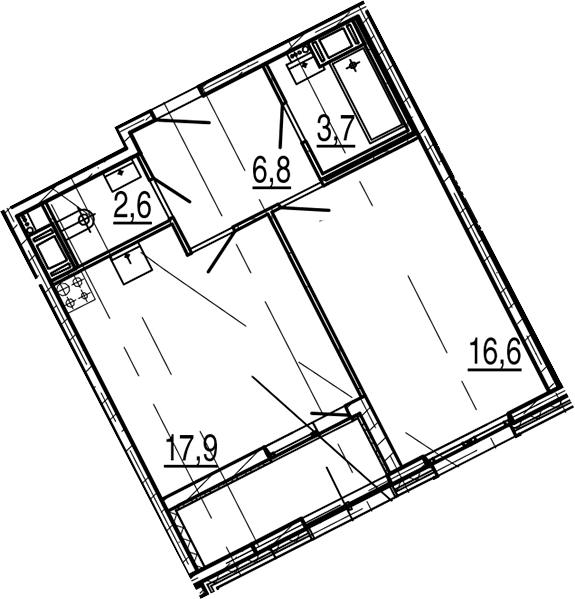 2-комнатная 52 м<sup>2</sup> на 4 этаже