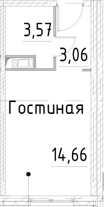 Студия, 21.29 м²