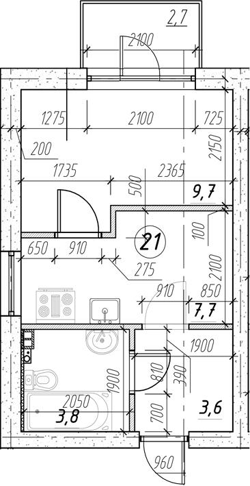 1-к.кв, 27.47 м²