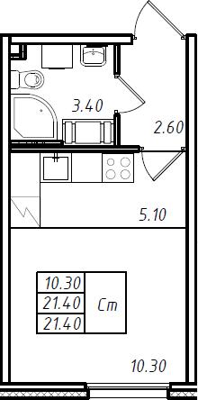 Студия 21 м<sup>2</sup> на 15 этаже