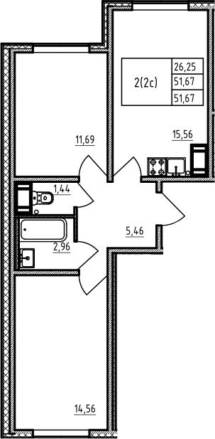 3-комнатная 51 м<sup>2</sup> на 15 этаже